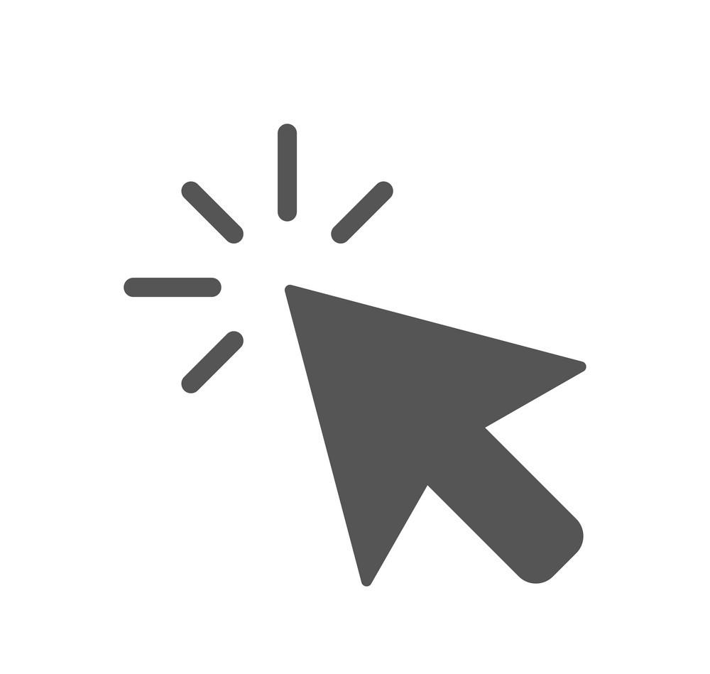 Click icon vector. Computer mouse click cursor grey arrow icon. EPS 10.